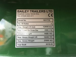 New 2018 16 ton Bailey Trailer